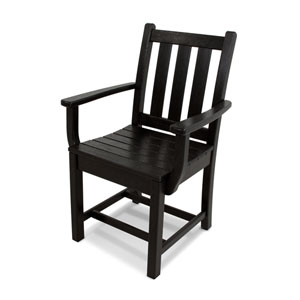 Traditional Garden Black Dining Arm Chair