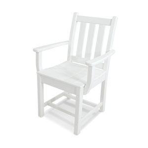 Traditional Garden White Dining Arm Chair