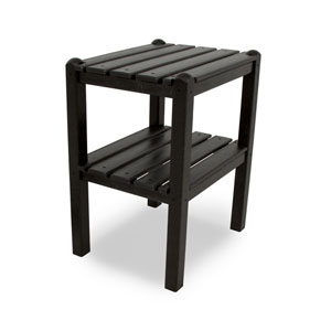 Black Two Shelf Side Table