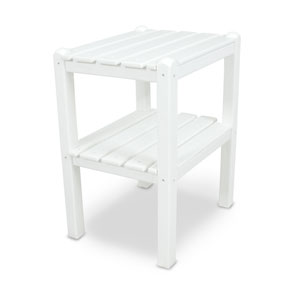 White Two Shelf Side Table