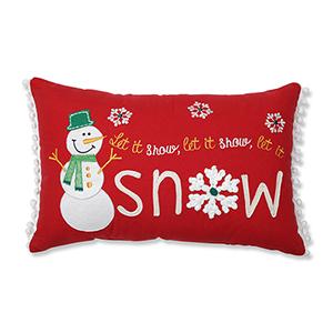 Red Let It Snow Lumbar Pillow