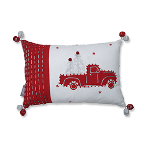 Red and White Truck and Trees Lumbar Pillow