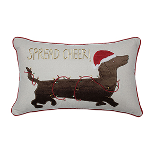 Red Spread Cheer Daschund Lumbar Pillow