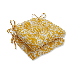 Egg Yolk Indoor or Outdoor Herringbone Reversible Chair Pad- Set of 2