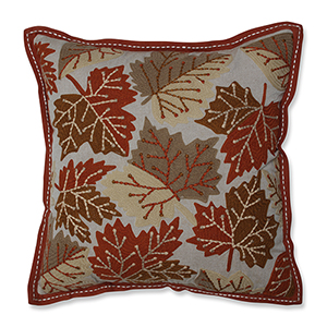 Orange, Green and Beige Falling Leaves Harvest Decorative Pillow