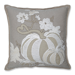 Natural and Off White Harvest Pumpkins Decorative Beaded Pillow