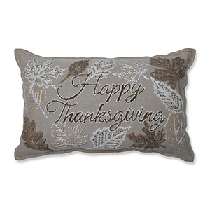 Natural and Off White Happy Thanksgiving Decorative Beaded Pillow
