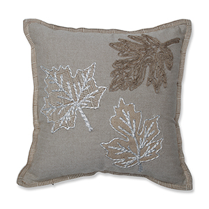 Tan and Off-White Falling Leaves Harvest Decorative Pillow