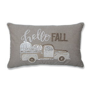 Natural and Off White Hello Fall Decorative Appliqued Lumbar Pillow