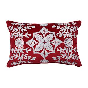 Red Snowflakes and Berries Lumbar Pillow