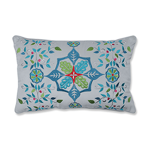 Multicolor Snowflakes and Berries Lumbar Pillow