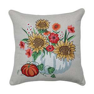 Multicolor Harvest Bouquet Embroidered Decorative Pillow