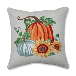 Multicolor Pumpkin Patch Embroidered Decorative Harvest Pillow