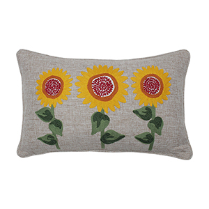 Berry, Yellow and Green Sunflower Delight Embroidered Decorative Pillow