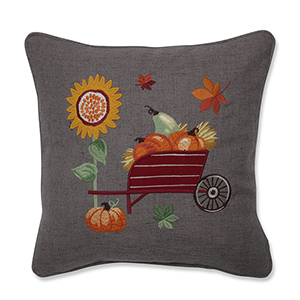 Multicolor Pumpkins, Sunflower and Wheelbarrow Embroidered Decorative Pillow