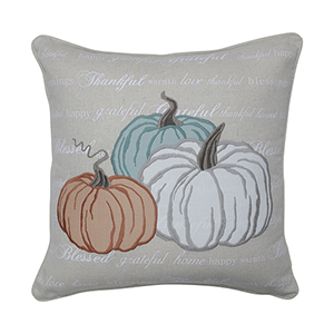 Multicolor Natural Pumpkins Appliqued Harvest Decorative Pillow