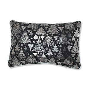 Gray Metallic Christmas Trees Lumbar Pillow