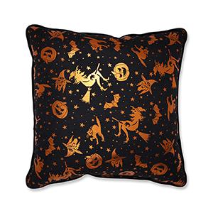 Black and Orange Metallic Halloween Throw Pillow