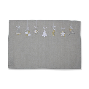 Gray and White Hanging Christmas Ornaments Placemat- Set of 2