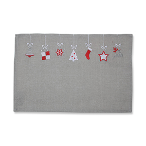 Gray and Red Hanging Christmas Ornaments Placemat- Set of 2