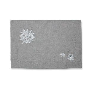 Gray Christmas Snowflakes Placemat- Set of 2