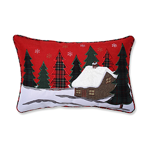 Red and Green Christmas Cabin Lumbar Pillow