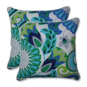Sophia Green Blue Gray 18-Inch Throw Pillow, Set of Two