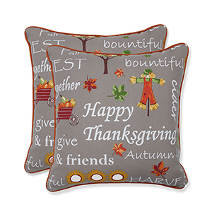 Multicolor Autumn Harvest Haystack Indoor or Outdoor Throw Pillow- Set of 2