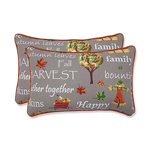 Multicolor Autumn Harvest Haystack Indoor or Outdoor Lumbar Pillow- Set of 2