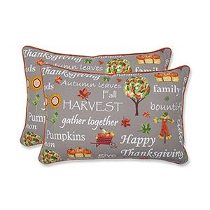 Multicolor Autumn Harvest Haystack Indoor or Outdoor Oversized Lumbar Pillow- Set of 2
