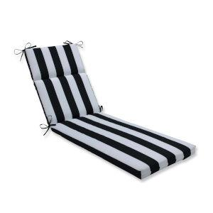 Cabana Black White 21-Inch Wide Chaise Lounge Cushion