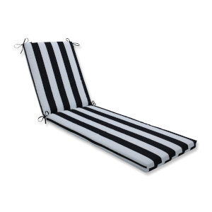 Cabana Black White 23-Inch Wide Chaise Lounge Cushion