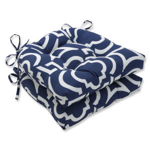 Carmody Blue White Large Chairpad, Set of Two