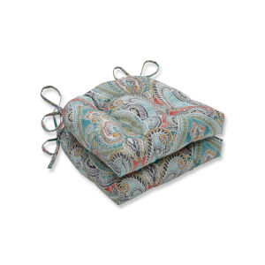 Pretty Blue Green Red Large Chairpad, Set of Two