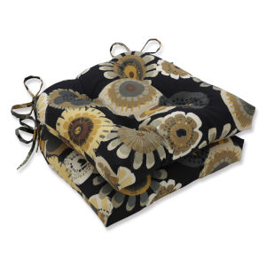 Crosby Black Yellow Large Chairpad, Set of Two