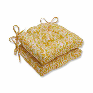 Herringbone Yellow Off-White Large Chairpad, Set of Two