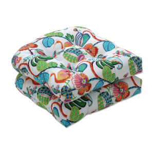 Tropical Green Blue Multicolor Seat Cushion, Set of Two