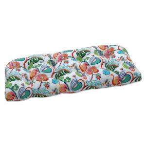 Tropical Green Blue Multicolor Loveseat Cushion