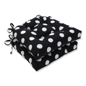 Polka Black White Reversible Chair Pad, Set of Two