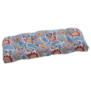 Moroccan Blue Red Yellow Loveseat Cushion
