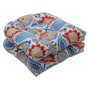Moroccan Blue Red Yellow Seat Cushion, Set of Two