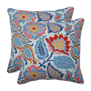 Moroccan Blue Red Yellow 18-Inch Throw Pillow, Set of Two