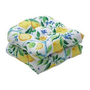 Lemon Yellow Blue Green Seat Cushion, Set of Two