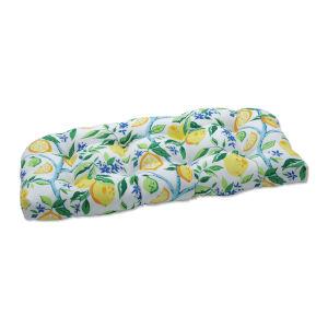 Lemon Yellow Blue Green Loveseat Cushion