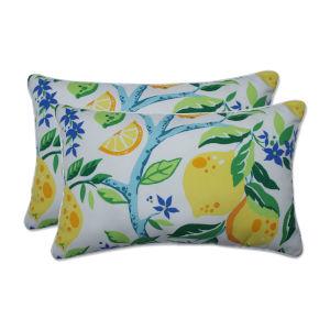 Lemon Yellow Blue Green Throw Pillow, Set of Two
