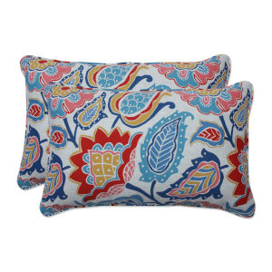 Moroccan Blue Red Yellow Throw Pillow, Set of Two