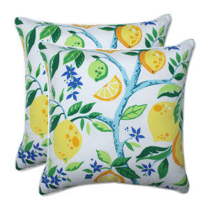 Lemon Yellow Blue Green 18-Inch Throw Pillow, Set of Two