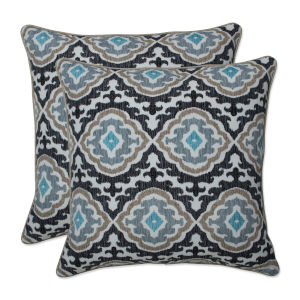 Agrami Black Tan Gray 18-Inch Throw Pillow, Set of Two