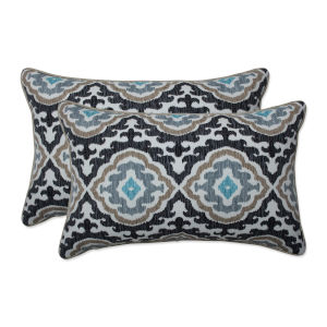 Agrami Black Tan Gray Throw Pillow, Set of Two