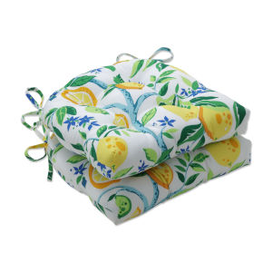 Lemon Yellow Blue Green Large Chairpad, Set of Two